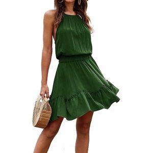 Mini green summer dress medium